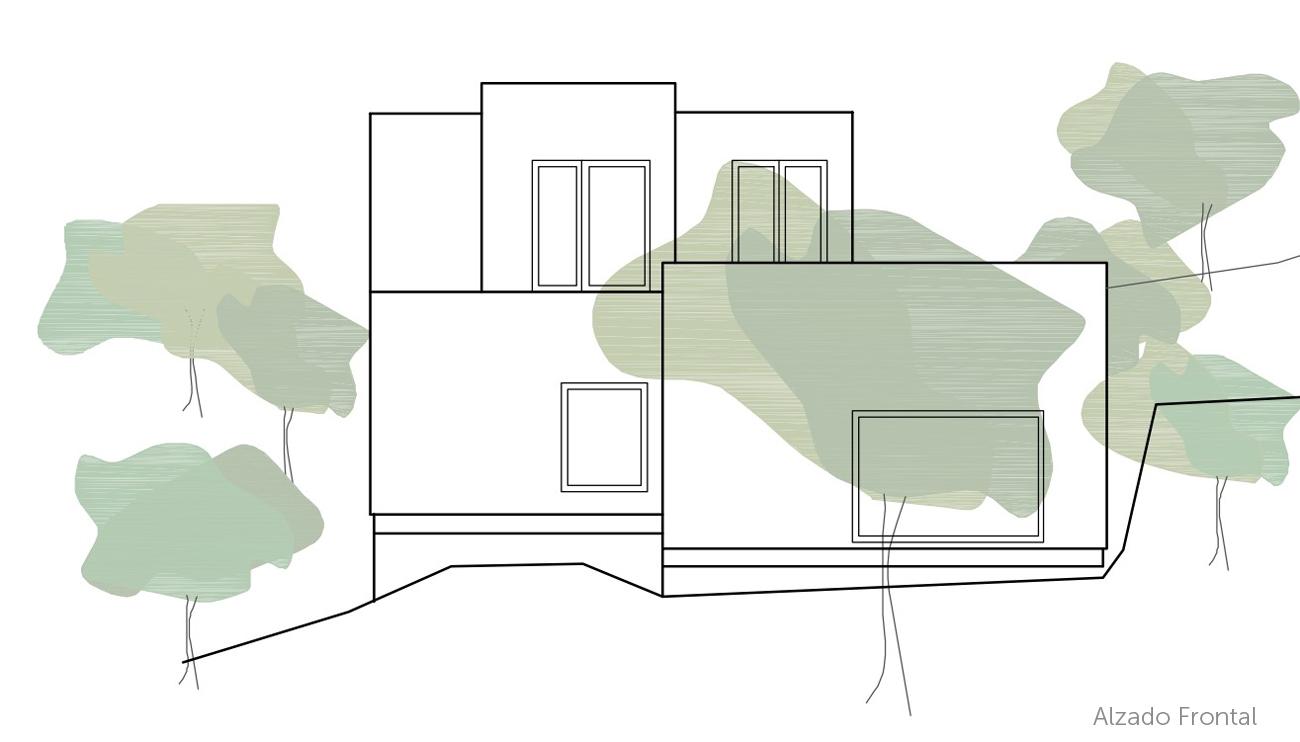 alzado frontal casa estudio ÁBATON