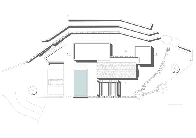 Villa Melana en despiertaymira. Obra de Valia Foufa y Panagiotis Papassotiriou   roof plan