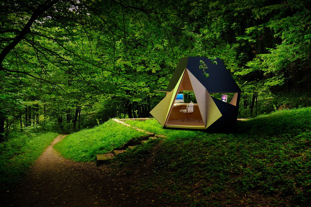 Una oficina al aire libre llamada Tetra Shed