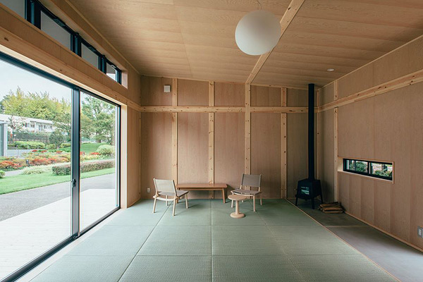 Vista interior de la cabaña Koruku no Koya