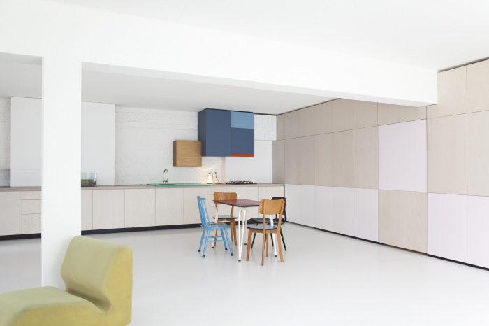 imagen general del proyecto Auwegemvaart, sala, cocina, escritorio...