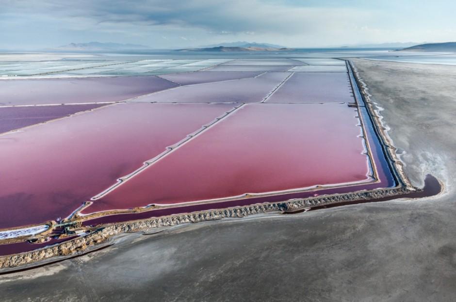 Contraste de morados y verdes en las salinas del Gran Lago Salado de Utah