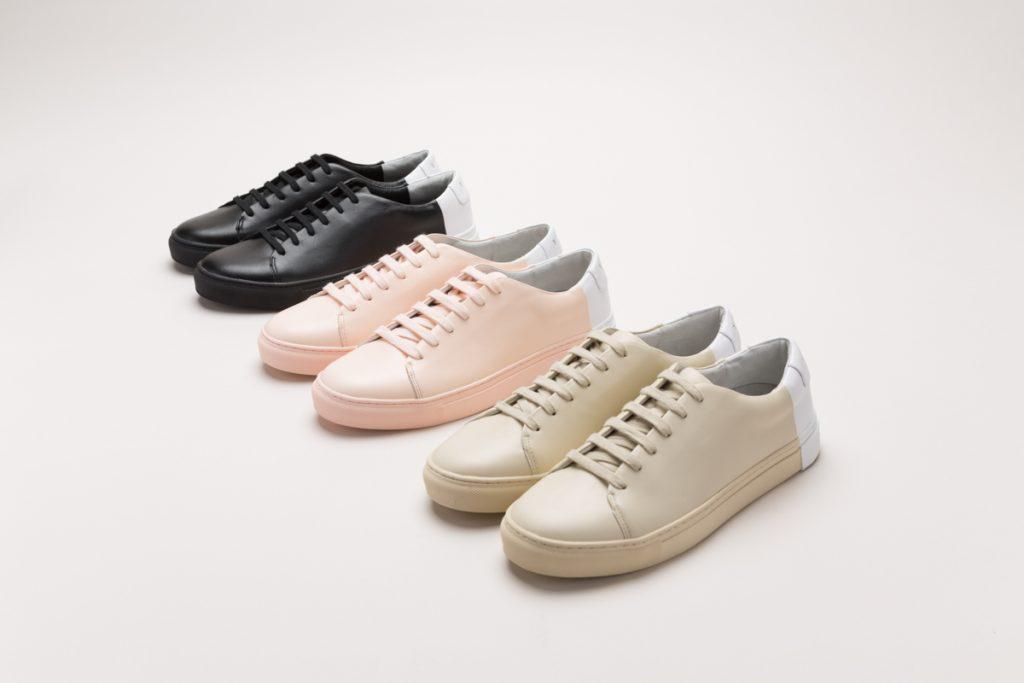 detalle de varias zapatillas en varios colores, rosa palo, beis claro y negro