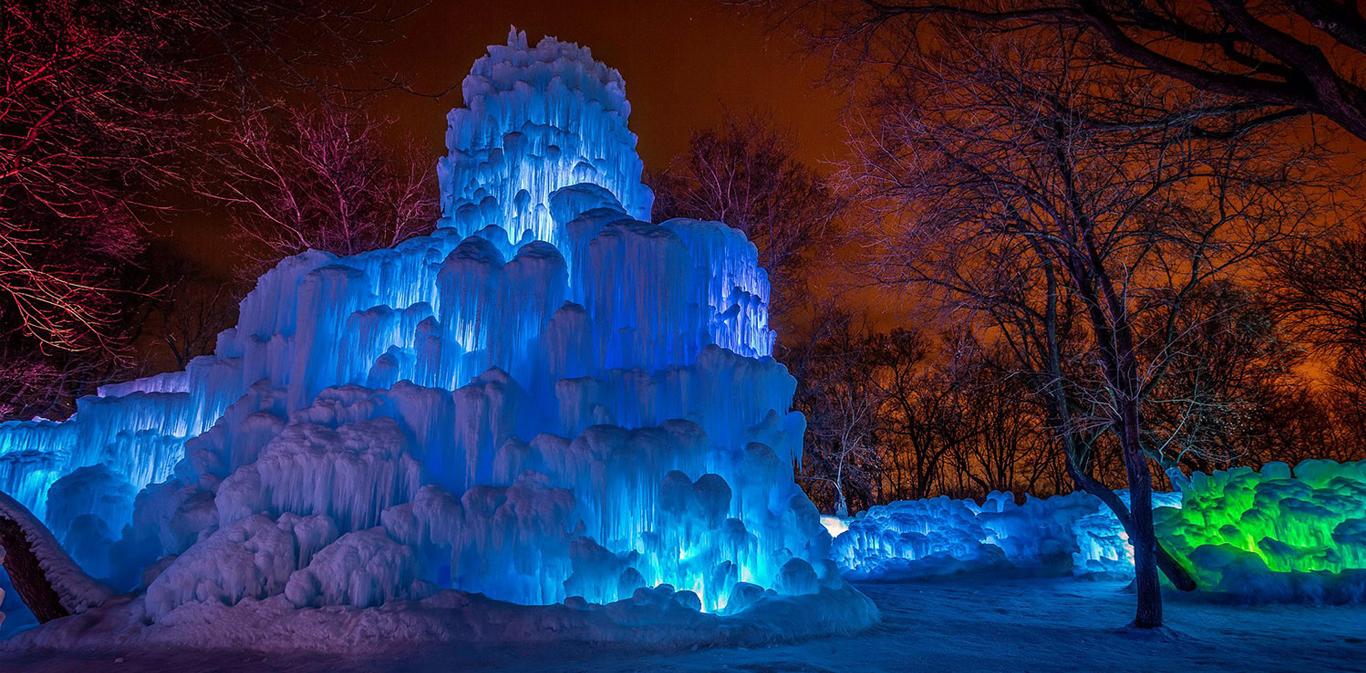 Navidades norteamericanas en un castillo de hielo