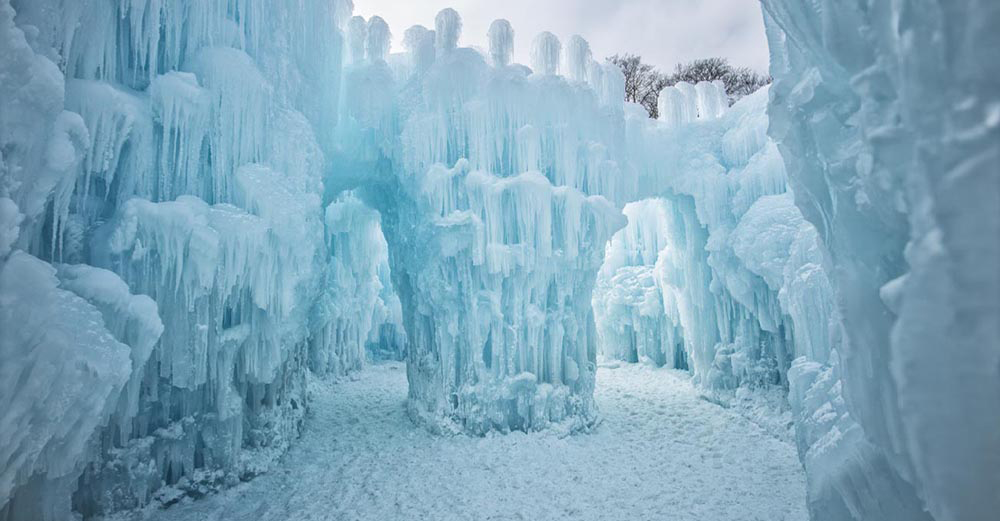 Una de las instalaciones de hielo para los entusiastas de Frozen