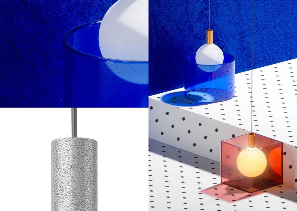 Lámpara Suprematics modelo Punct bombilla esférica de vidrio esmerilado