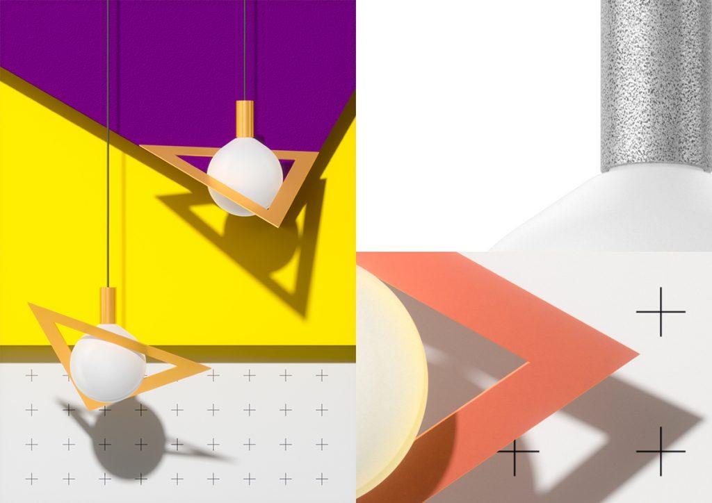 Lámpara Suprematic modelo Trig vértices rotundos y amenazantes
