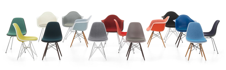 Silla shell en sus distintos colores y opciones de tapizado