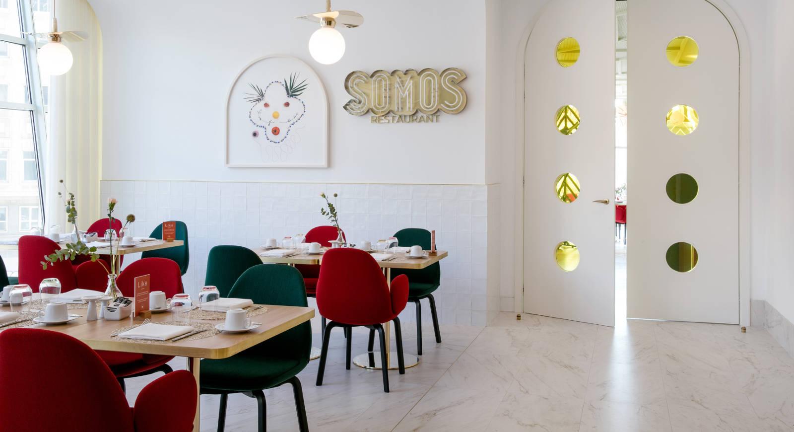 Detalle de una de las salas comedor del hotel Barceló