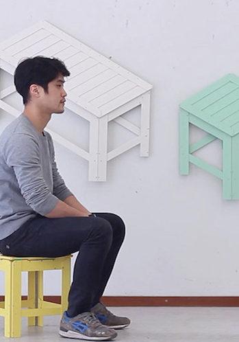 De-dimension, el mobiliario trampantojo plegable de Jongha Choi