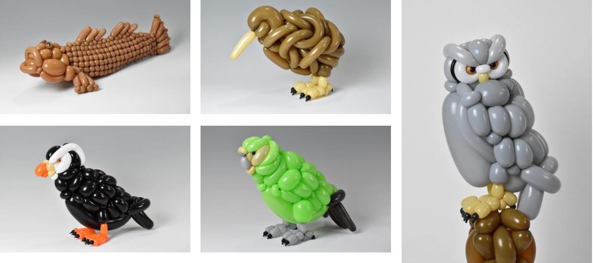 varias figuras globo hechas por masayoshi matsumoto