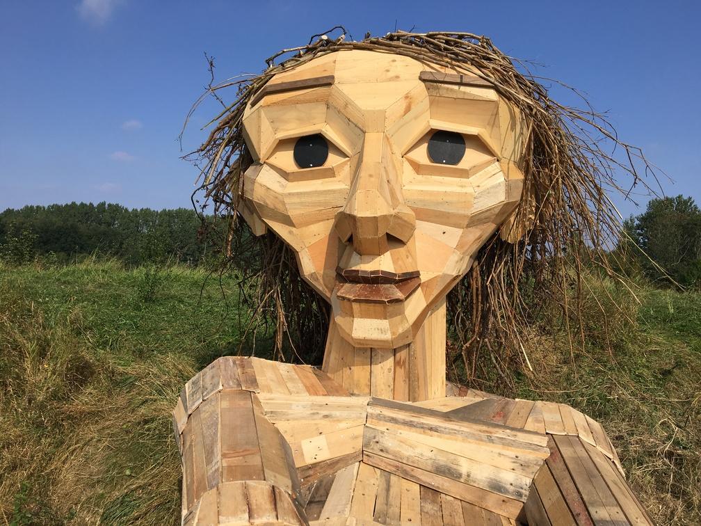 Trine gigante de madera en la colina