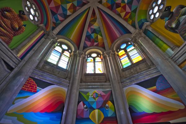 pintura de la cupula de la iglesia de santa barbara de llanera