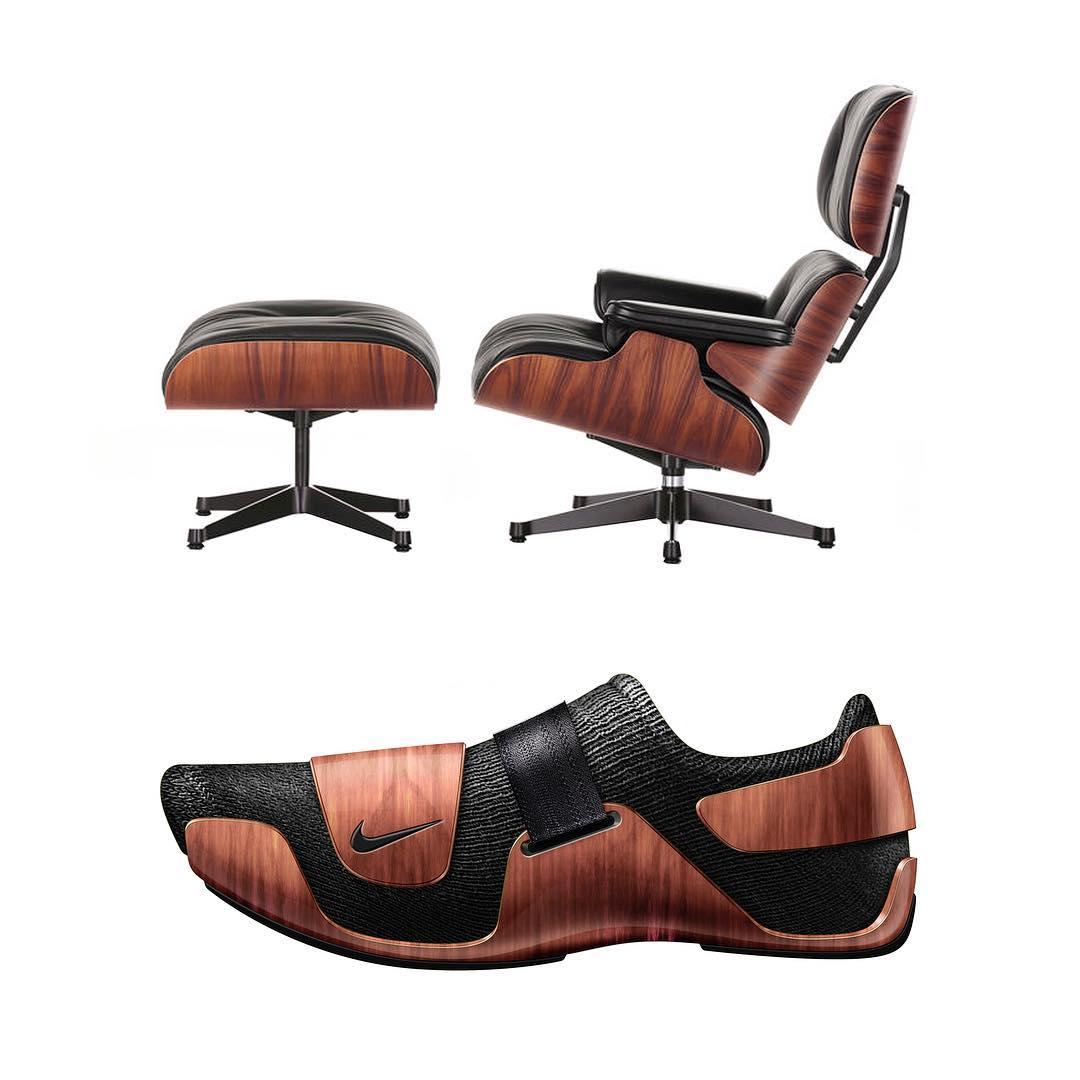 sillón lounge y zapatilla nike
