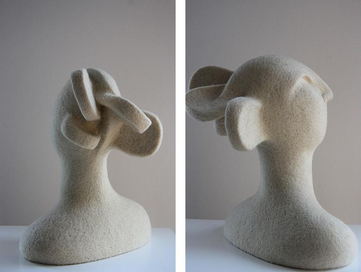Esculturas realizadas con vellón de lana cardado natural por Teresa Rancaño