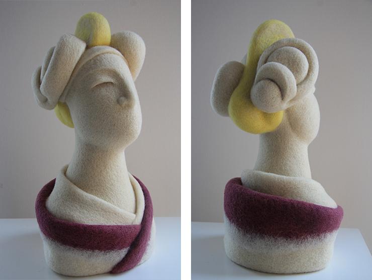 Esculturas realizadas con vellón de lana cardado natural