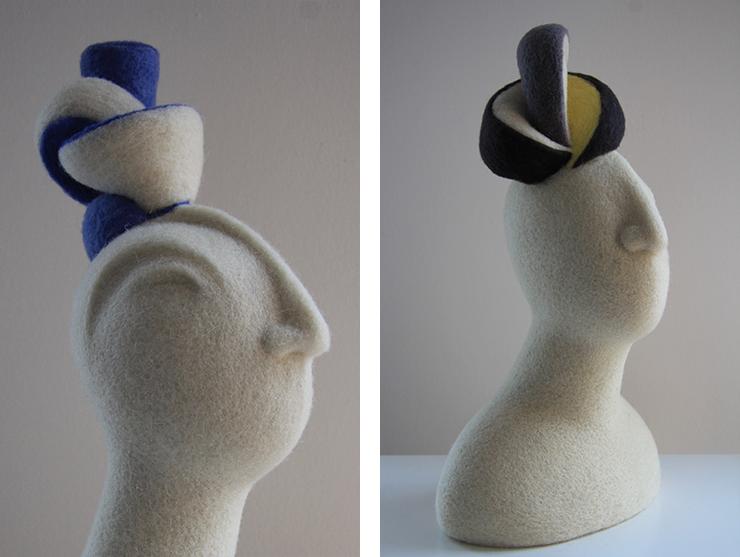 Esculturas realizadas con vellón de lana cardado de la serie de pura lana