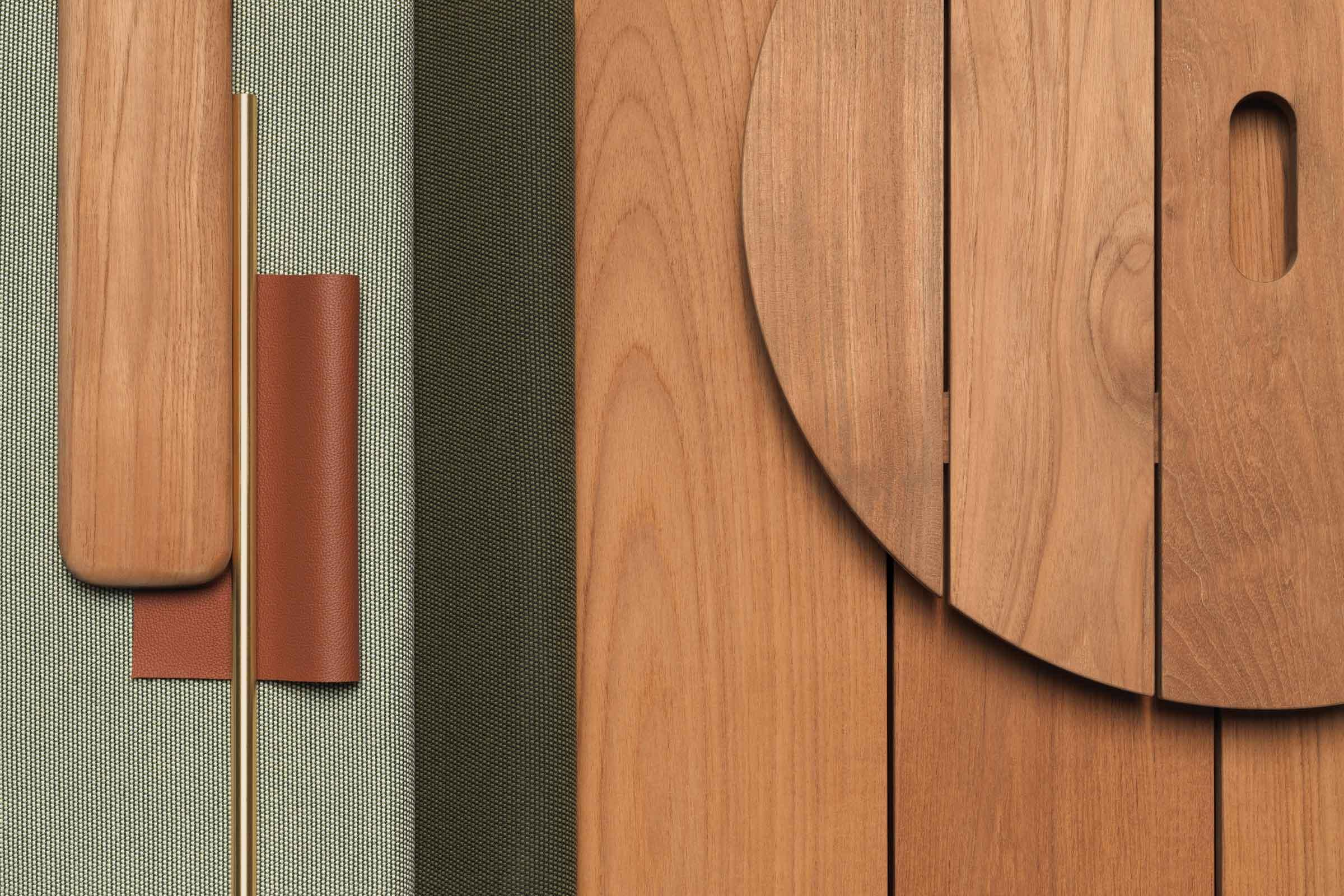 detalle de la madera de teca y tejidos