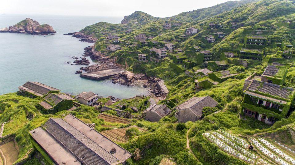 imagen aerea de la abandonada ciudad houtouwan