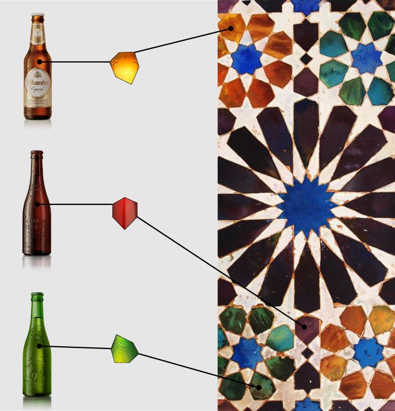 Los colores de los azulejos que adornan las paredes de la Alhambra