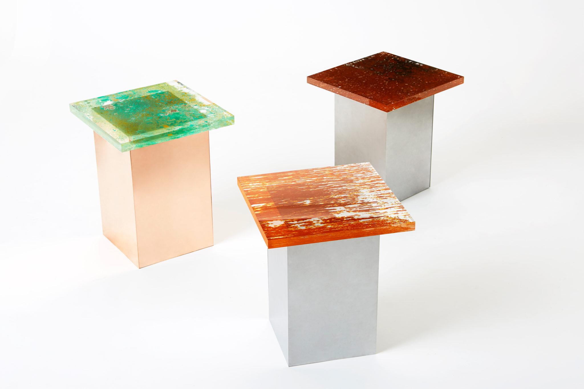 taburetes de la colección Rust Harvest de Yuma Kano