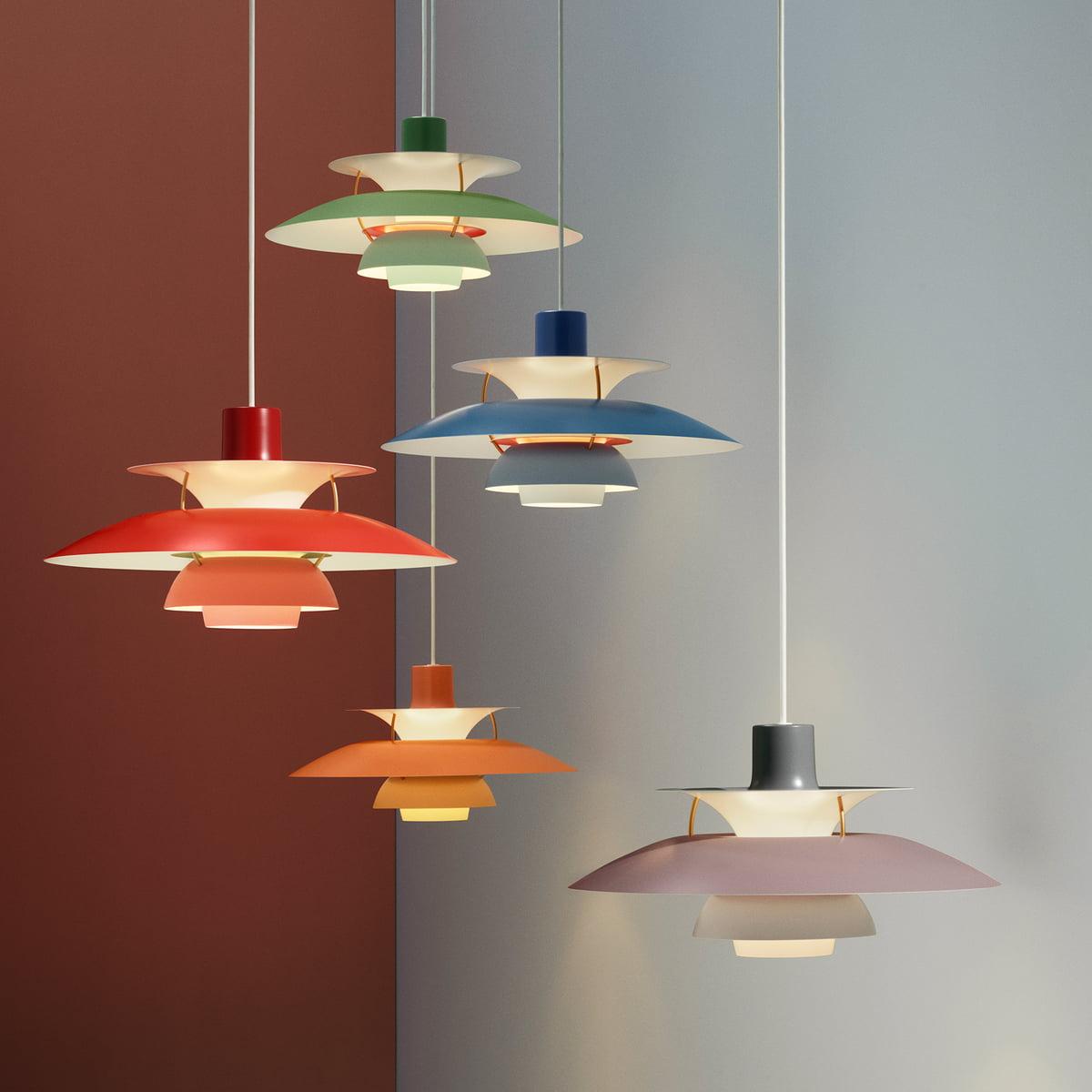 lámparas ph5 en varios colores de poul henningsen