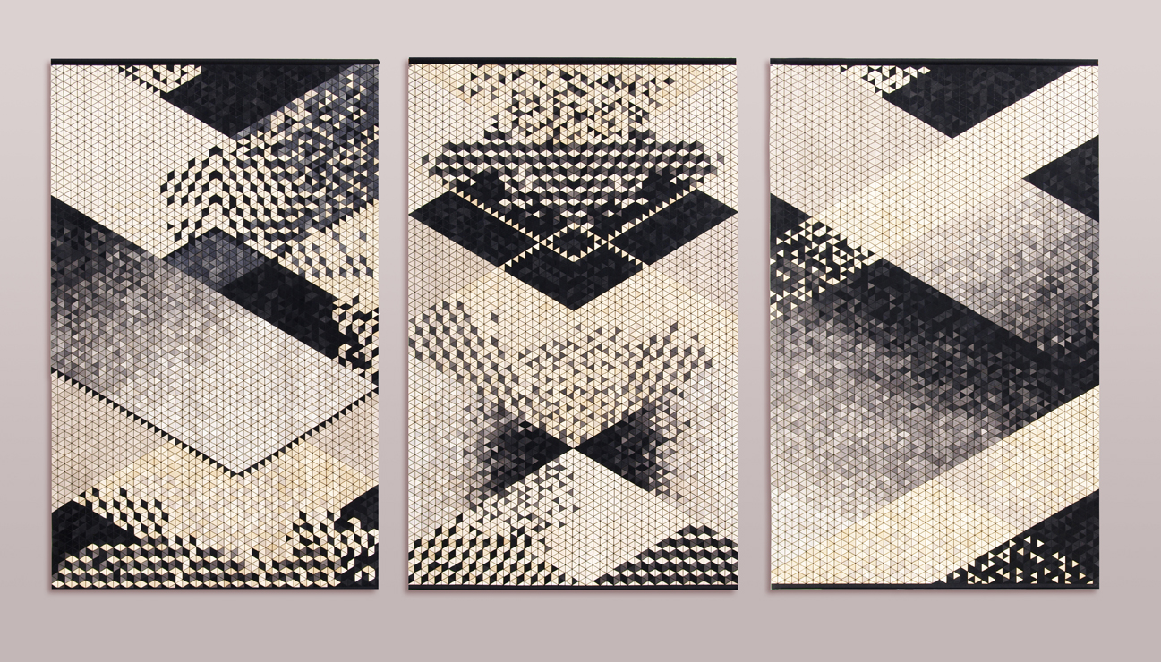 murales de madera en beige y negro de la diseñadora Elisa Strozyk