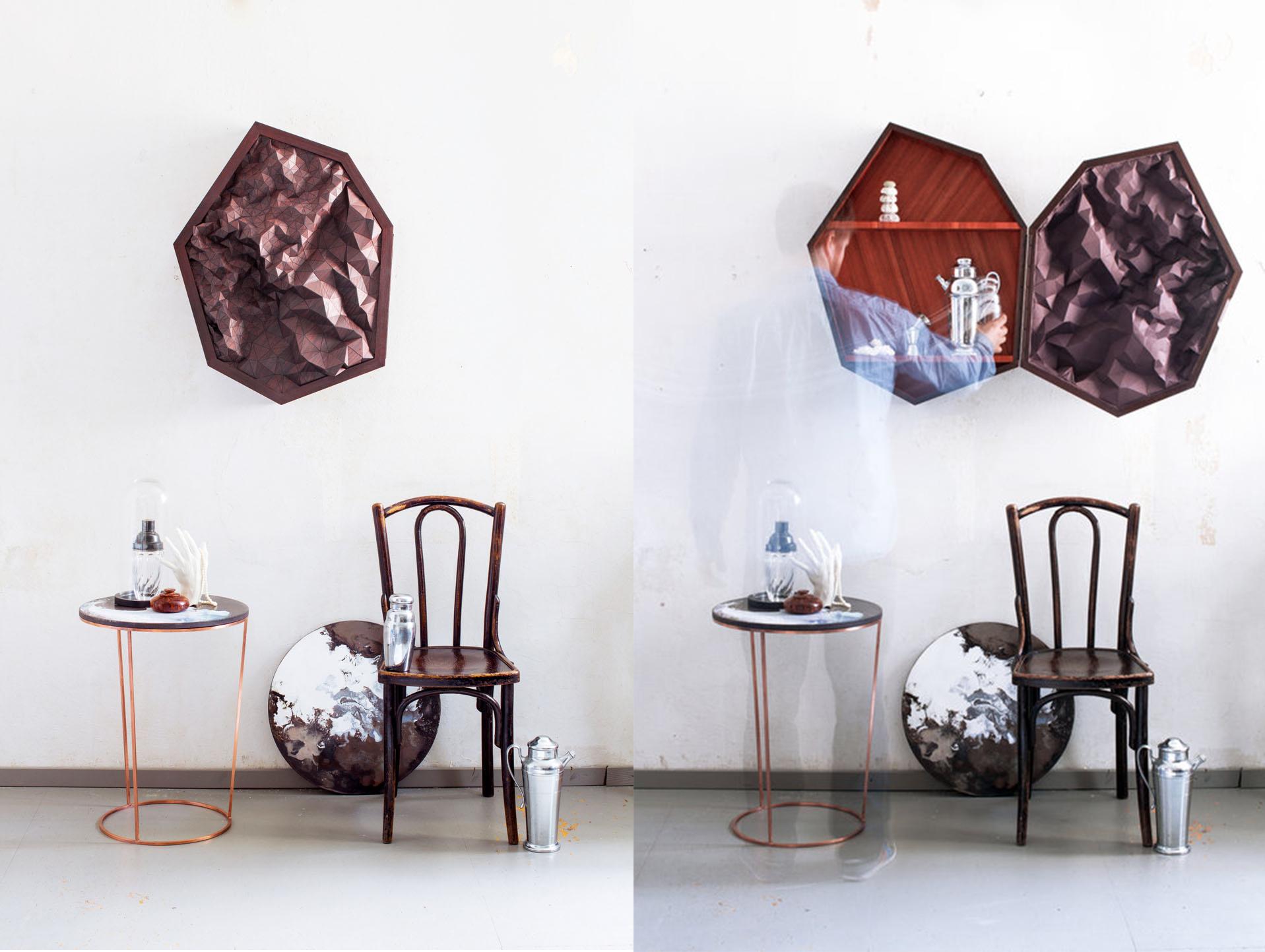 Septagon mueble-bar poliédrico concebido con el artista Sebastian Neeb