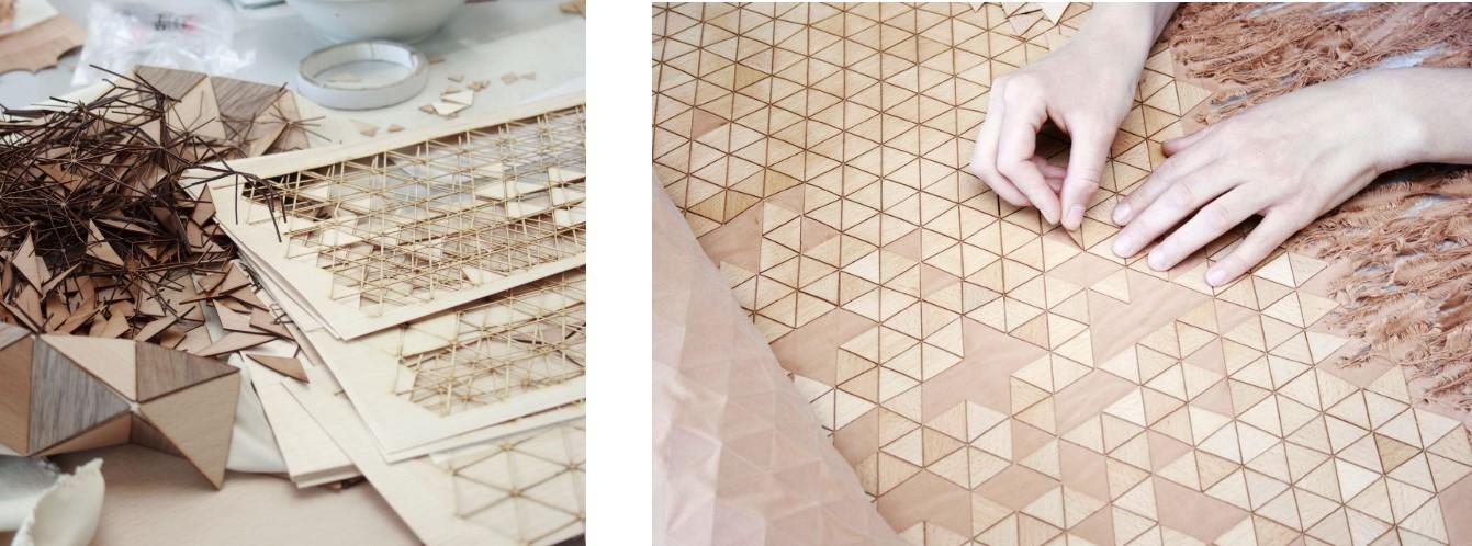 proceso de creación de la tela de madera