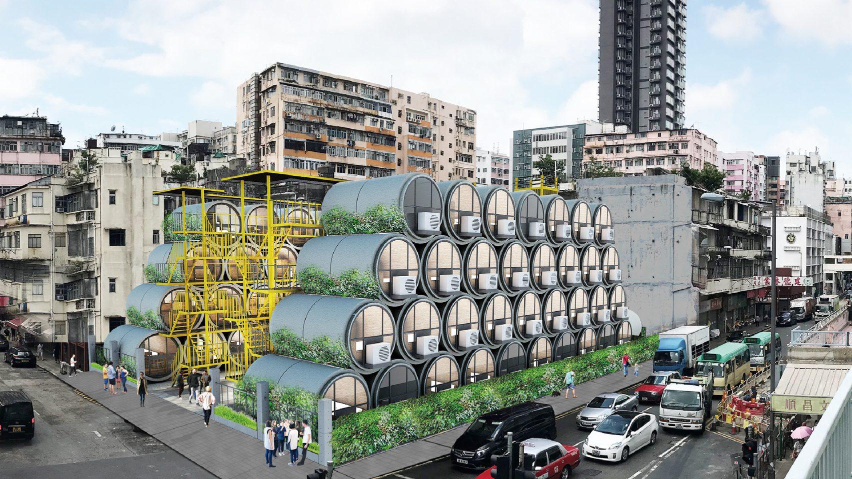 vista general de los tubos de hormigón armado como viviendas