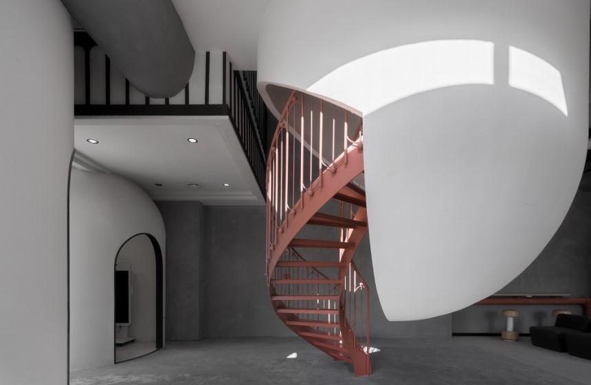 detalle de la escalera de Ideas Lab en Shangái obra del arquitecto Li Xiang