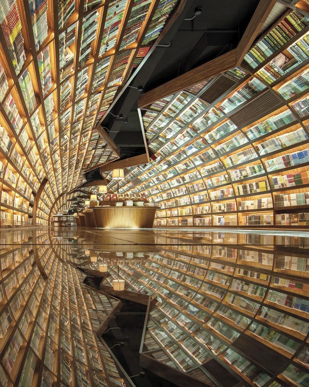 vista general de la librería Yangzhou donde los elementos pulidos se colocaron en el suelo