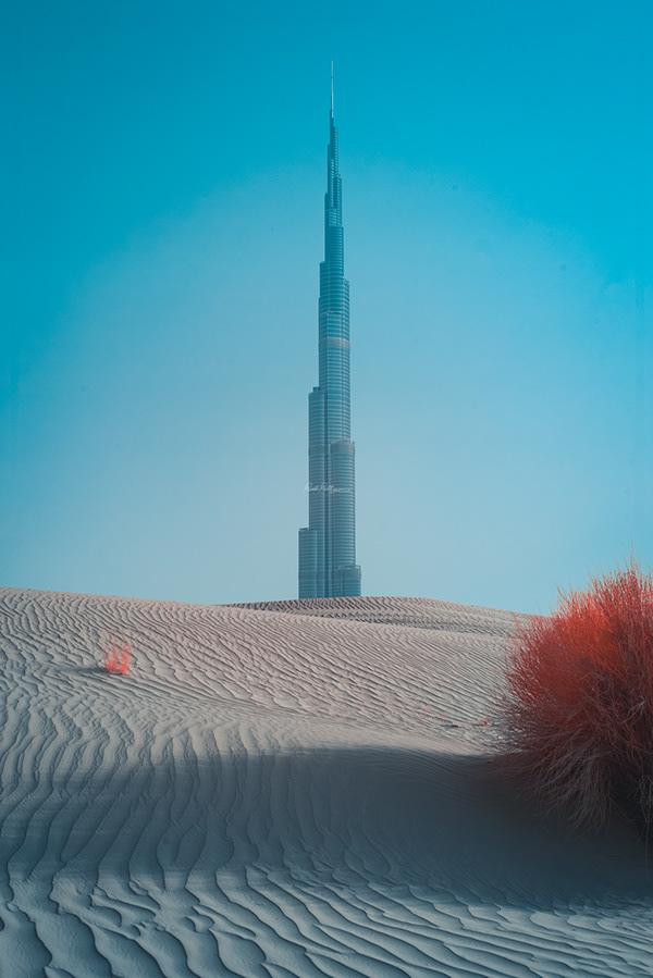 contraste del desierto y rascacielos en dubai