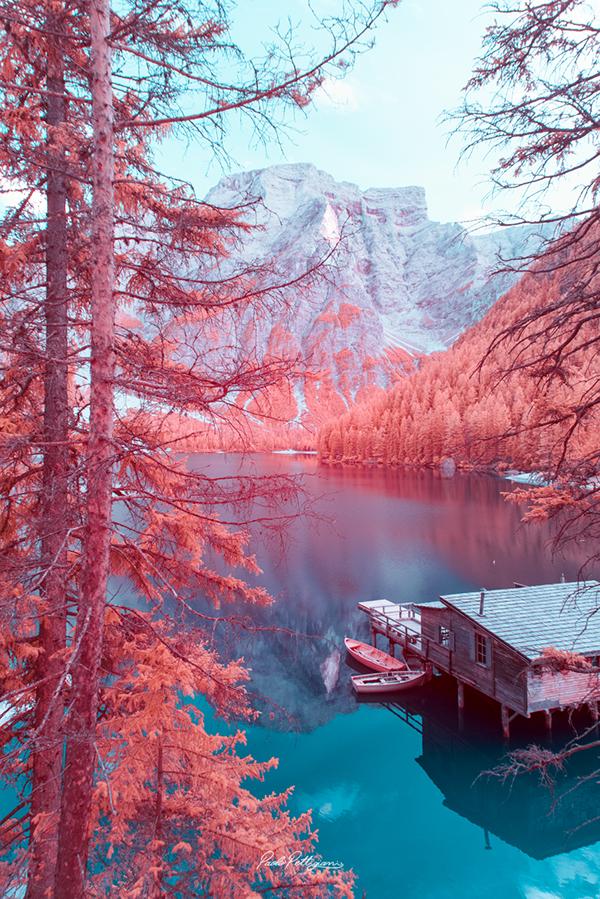 paisaje montañoso distorsionado en las dolomitas fotografia de paolo pettigiani