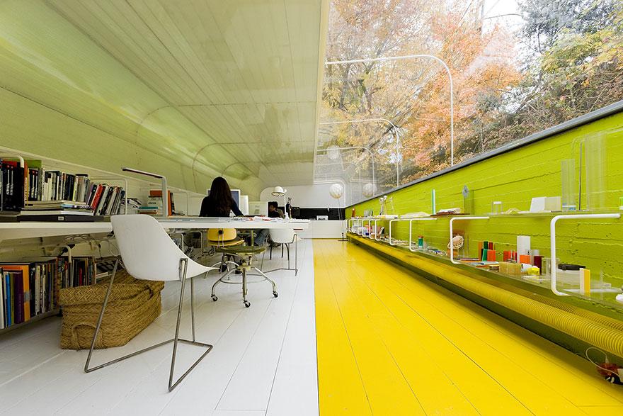 Interior con techo de cristal del estudio Selgas Cano