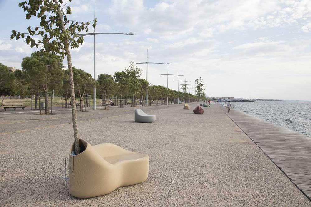 mobiliario urbano impreso en 3d en el céntrico parque de Hanth