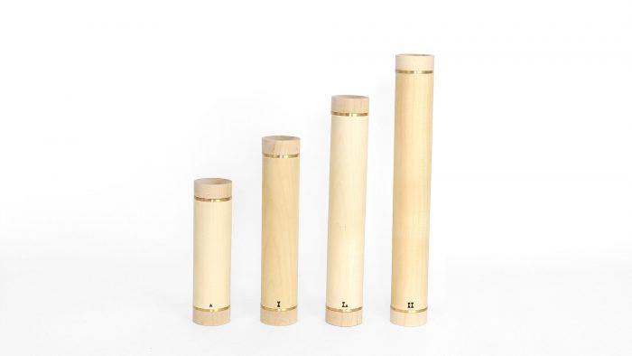 pesas de madera de arce que esconden en su interior un núcleo de hierro