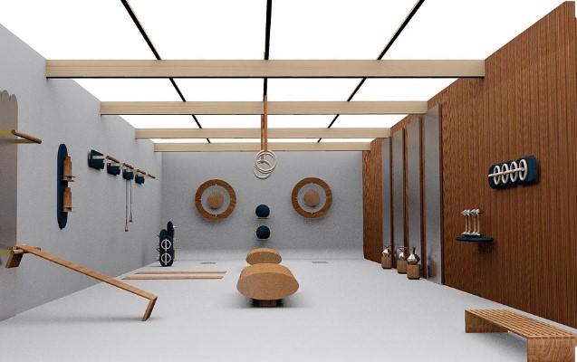 detalle de los distintos elementos diseñados por kenko en un gimnasio