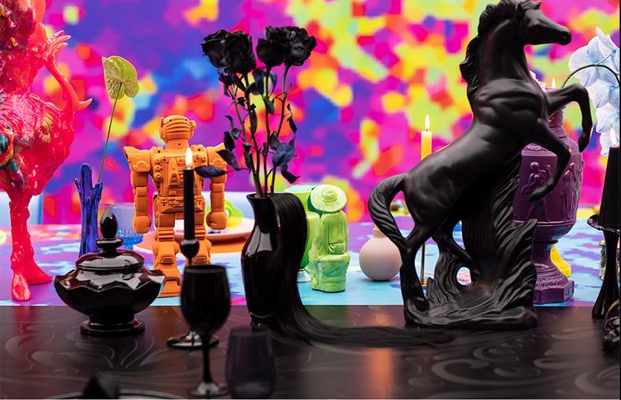 figuritas pintadas en color negro para la decoración de la mesa